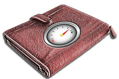 Wallet with empty / full gauge on cover Stock Photography