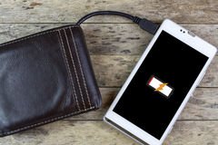 Wallet with energy charge Stock Images