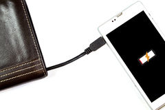 Wallet with energy charge Royalty Free Stock Photos