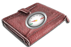 Wallet with 'Enough / Finished' gauge on cover Royalty Free Stock Photography