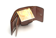 Wallet with euro banknote. On white Stock Photos