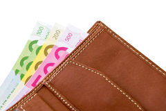 Wallet with euro banknotes. Leather wallet with euro banknotes Stock Photos