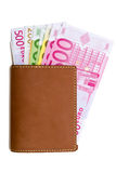 Wallet with euro banknotes. Leather wallet with euro banknotes Royalty Free Stock Image