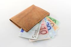 Wallet with euro banknotes stock photo