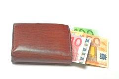 Wallet with euro banknotes. On white Royalty Free Stock Image
