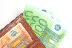 Wallet with euro banknotes. On white Royalty Free Stock Photos