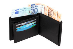 Wallet with euro banknotes. Isolated over white with clipping path Royalty Free Stock Photos