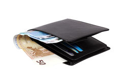 Wallet with euro banknotes. Isolated over white with clipping path Royalty Free Stock Images