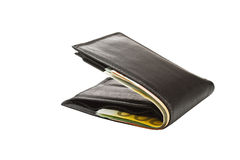 Wallet with euro banknotes. Isolated on white Stock Photography
