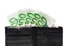 Wallet with euro banknotes. Isolated on white Royalty Free Stock Photography
