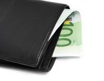 Wallet with euro banknotes Stock Image