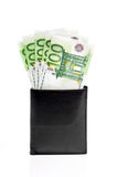 Wallet with euro banknotes. Isolated on white Royalty Free Stock Photo