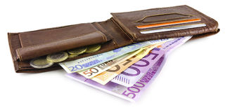 Wallet with Euro banknotes Stock Images