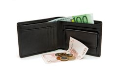 Wallet and euro banknotes and coins isolated. Black wallet and euro banknotes and coins on white background Royalty Free Stock Photos