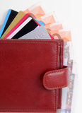 Wallet with euro banknotes and credit card. Leather wallet with euro banknotes and credit card isolated on white background Stock Photo
