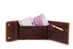Wallet with euro banknotes. Royalty Free Stock Image
