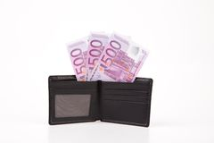 Wallet with euro banknotes. Royalty Free Stock Photos