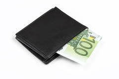 Wallet with euro banknotes. Isolated over white with clipping path Royalty Free Stock Image
