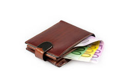 Wallet with euro banknotes. Wallet with euro banknotes isolated on white background Stock Photos