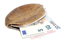 Wallet with euro banknotes isolated on white. Background Stock Image