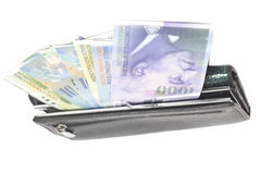 Wallet with euro banknotes isolated on white. Background Stock Photos
