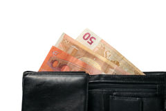 Wallet with Euro banknotes. Isolated  on a white background Stock Image
