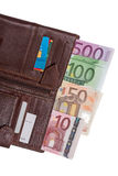 Wallet with euro banknotes. Open wallet with euro banknotes isolated on white background Royalty Free Stock Photo