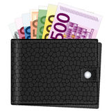 Wallet and euro banknotes Stock Images