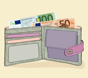 Wallet with 50 and 100 Euro bills. Illustration of wallet with 50 and 100 Euro bills vector illustration