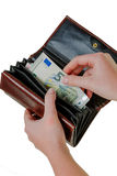 Wallet with euro bills Stock Images