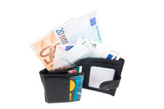 Wallet with euro and card. In white background Stock Photography
