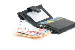 Wallet with euro and card. In white background Royalty Free Stock Image