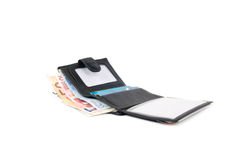 Wallet with euro and card. In white background Royalty Free Stock Photo