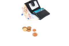 Wallet with euro and card. In white background Stock Image