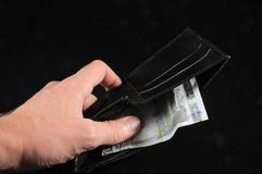 Wallet with euro currency Stock Images