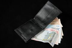 Wallet with euro currency Stock Photos