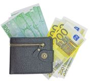 Wallet with euro. Isolated on white background royalty free stock photography