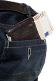 Wallet with euro in jeans pocket Royalty Free Stock Photo