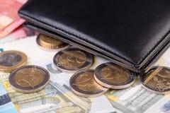 Wallet and euro money closeup Stock Photos