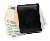 Wallet with Euro notes Stock Photo