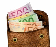 Wallet with euro notes Royalty Free Stock Photos