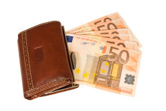 Wallet with euro notes, isolated Royalty Free Stock Images