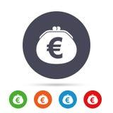 Wallet euro sign icon. Cash bag symbol. Stock Photos