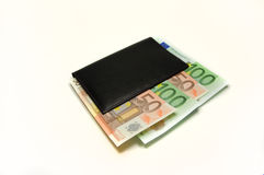 Wallet with Euro on white. Euro bills in the wallet isolated stock photography