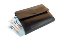 Wallet with european money. Black wallet with european paper money bills Stock Images