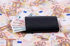 Wallet with European money Royalty Free Stock Photos