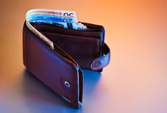 Wallet with euros Stock Image