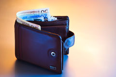 Wallet with euros Royalty Free Stock Images
