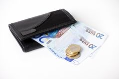 Wallet and euros Stock Photography