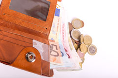 Wallet Euros. Wallet with money euro banknote and Coins Royalty Free Stock Images